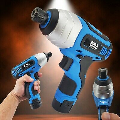 12V Max Brushed Powerful Cordless Impact Screwdriver Drill with Battery 1/4 in