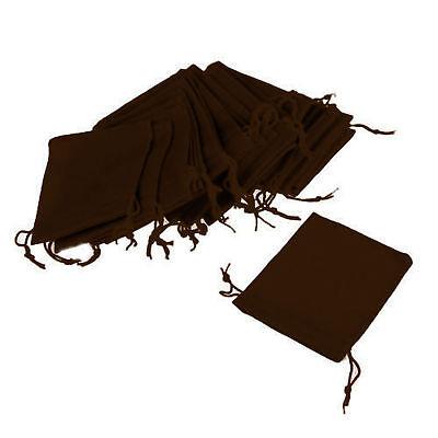 Lot Of 50 Brown Velvet Velveteen 2 X 2.5 Drawstring Gift Pouches