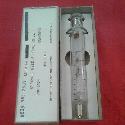 Vintage Becton Dickinson Glass Syringe 10cc Oin 51983 Medical