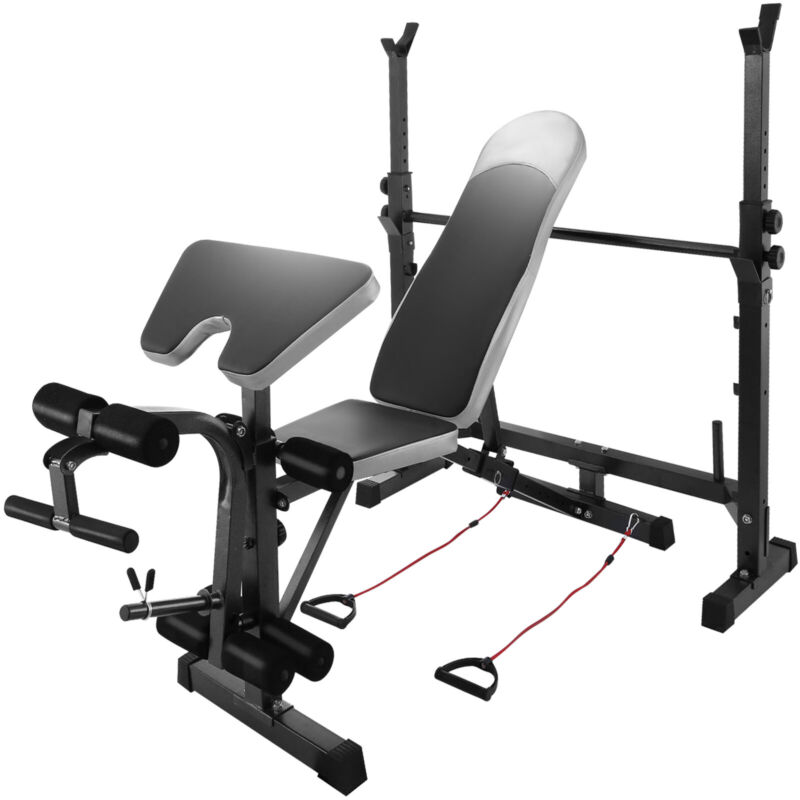 Adjustable Weight Bench Press Barbell Rack Home Gym 660lb Multi-Station Strength