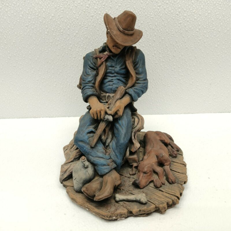 """Vintage Rustic 8"""" tall Hand Painted Ceramic Figurine Cowboy & Dog Whitctling"""