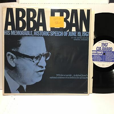 Abba Eban His Memorable Speech VG+ Spoken Word