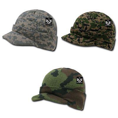 RapDom Jeep Cap Watch Hat Beanie Knit w/ Visor Military GI Camouflage Gi Jeep Caps