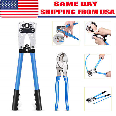 Cable Crimper and Cable Wire Cutter Tool Set for 10, 8, 6,4, 2 ,1/0 AWG Wire Wire Crimper Tool