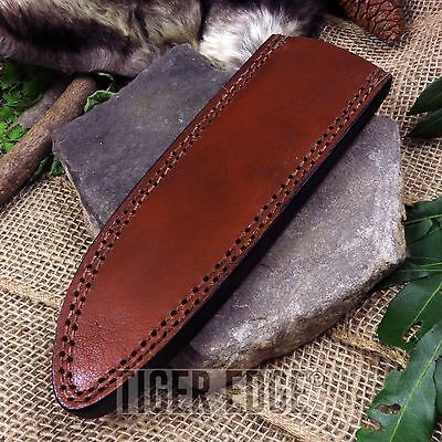 """FIXED-BLADE KNIFE BELT SHEATH Brown Leather 8.25"""" - Fits up to 10.5"""" x 2"""" Blade"""