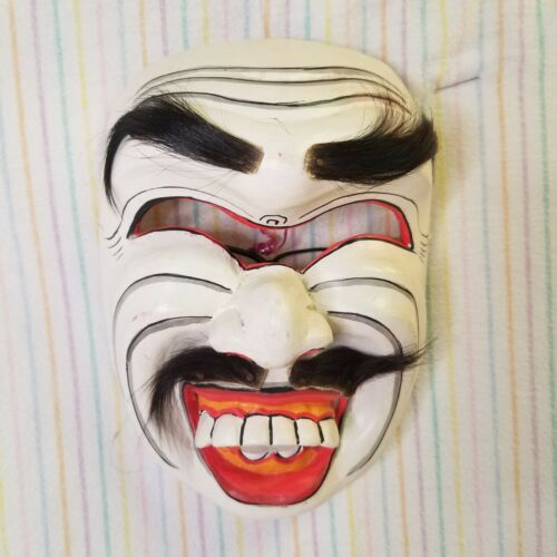 Balinese Wayang Topeng Mask Big Teeth Demon Face Indonesian Wooden Hand Carved