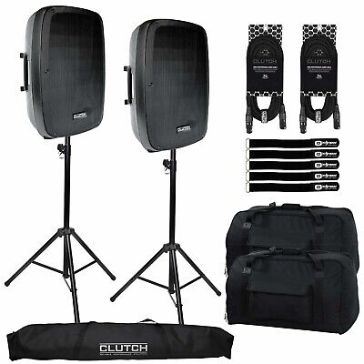 "Powered Active 15"" Bluetooth DJ PA Speakers Pair Black Clutch w Stands & Cases"