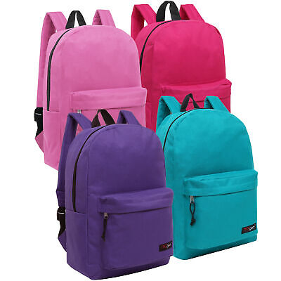 Bulk Case of 24 MGgear Pastel Color 16inch Book Bags, Wholesale Backpacks - Character Backpacks Wholesale