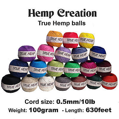 TRUE HEMP Ball - Hemp Creation- 430feet/ 95m- 1mm dia/20lb- Natural hemp cord (Creation Crafts)