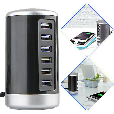 Tower Desktop Usb Hub Charger 6 Port Charging Station Smart Identification Us