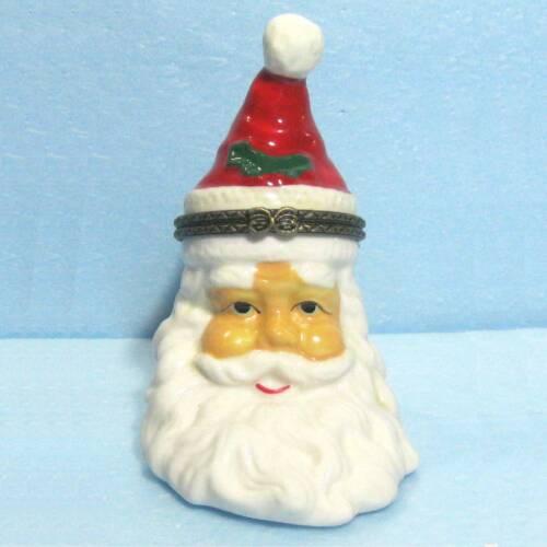 "Porcelain Santa trinket box 3.75""x2.4""x3"" ᵀ s1"
