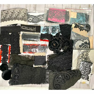 Lot of 32 Pieces Vintage/Antique Black Lace & Trims