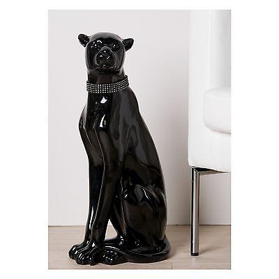 LUXUS DEKOFIGUR PANTHER SITZEND |  Skulptur Gepard, Leopard |  60 cm |  schwarz