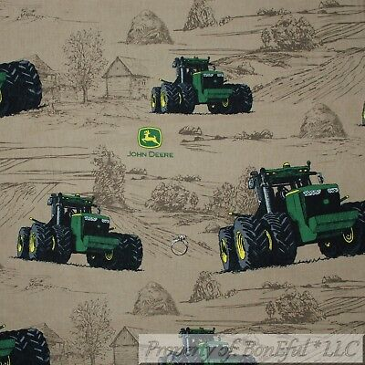 BonEful FABRIC FQ Cotton Quilt Brown Green Tractor John Deere L Farm Field (Green Toile Quilted Pillow)