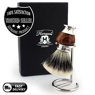 Men Silver Tip Handmade Badger Hair Shaving Brush with Brush Holder / Stand FREE Badger Brush Stand