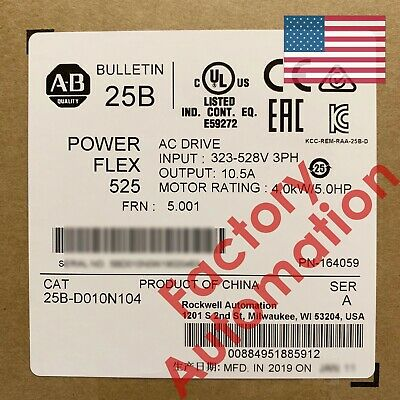 20182019 Us Stock Allen-bradley Powerflex 525 4kw 5hp Ac Drive 25b-d010n104