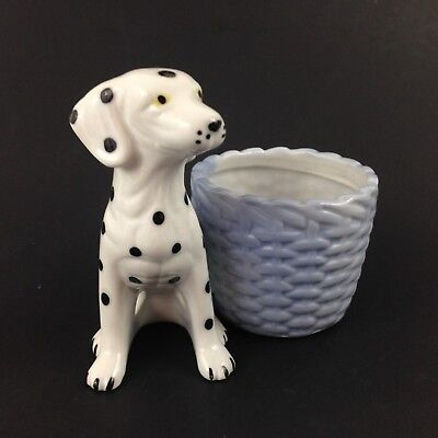 Dalmation Dog w/ Laundry Basket Small Pot Posy Holder Vase - Porcelain Figurine
