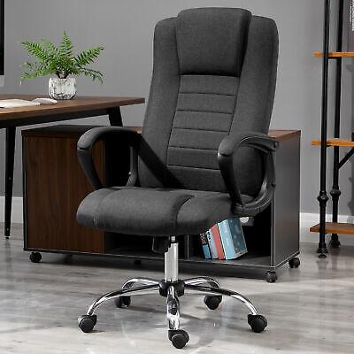 Vinsetto Office Chair Swivel Chair Adjustable Height Tilt Function Linen Black