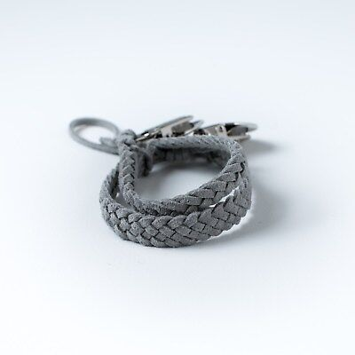 Faux Suede Braided Pacifier Clip - Grey