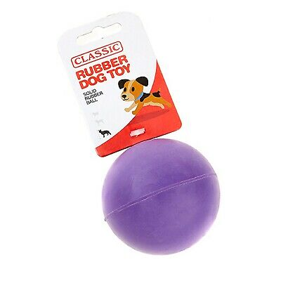 Purple Large Solid Strong Tough Hard Rubber Dog Treat Ball Fetch Toys