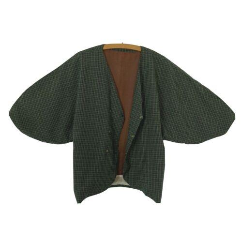 "Boro Japanese Vintage KIMONO Shaped Jacket Green Check Plaid Short Coat 26.2"""