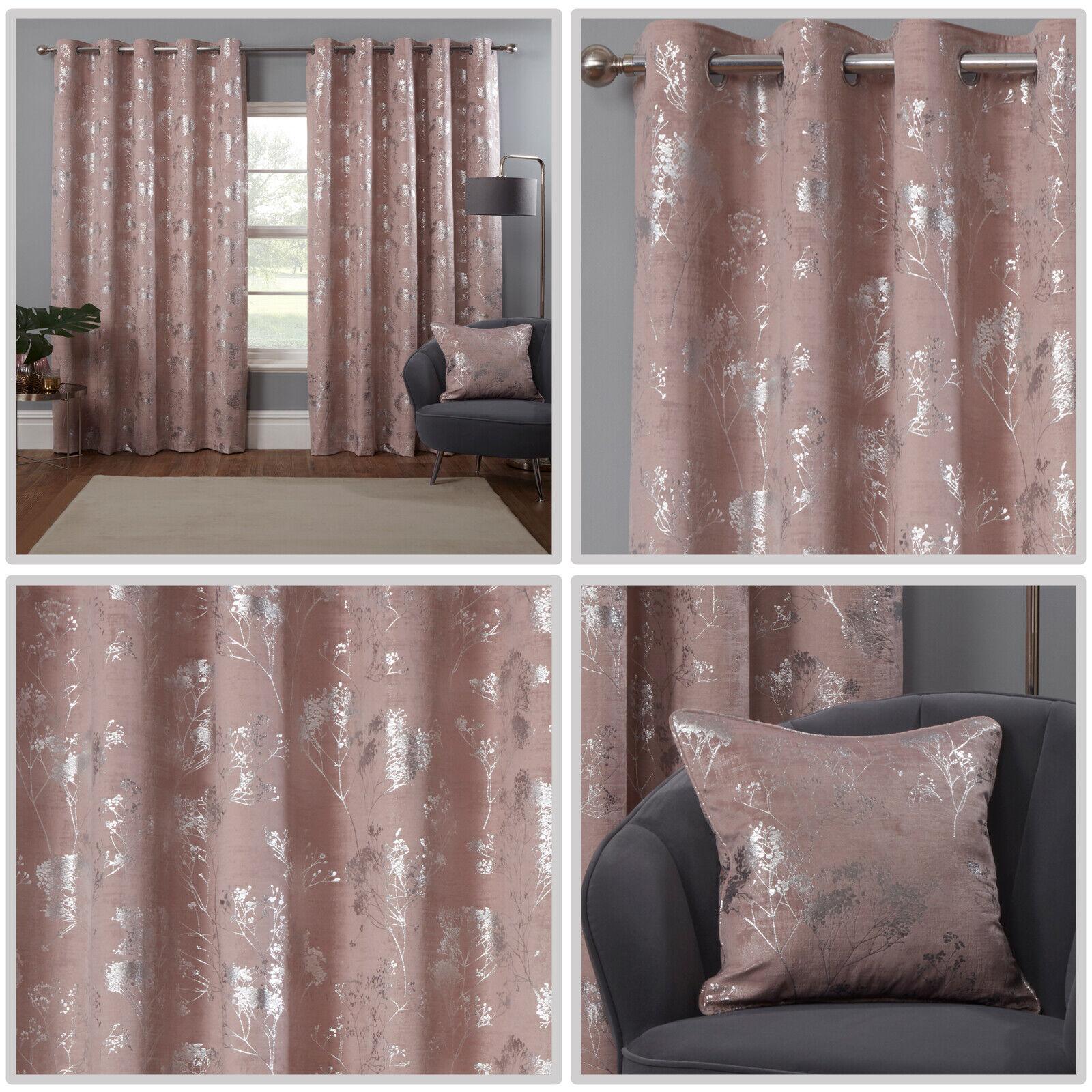 Blush Pink Eyelet Curtains Blossom Tree Silver Foil Velvet Ring Curtains Pair Ebay
