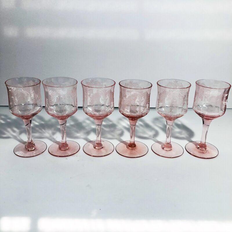 VINTAGE DEPRESSION GLASS PINK ETCHED OPTIC WINE GOBLETS SET OF 6