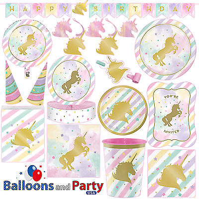 Girl Birthday Party Supplies (Unicorn Sparkle Pony Girl's Birthday Party Tableware Decorations)