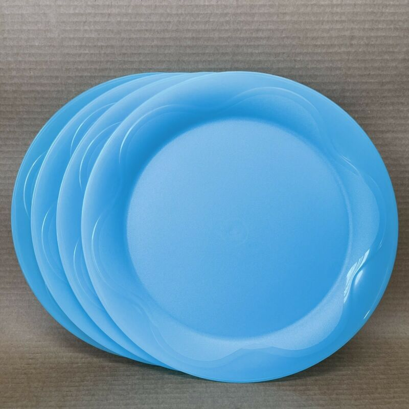 "Tupperware Open House Dinner Plates 11"" (Turquoise*) Set of 4 Floresta #4718 New"