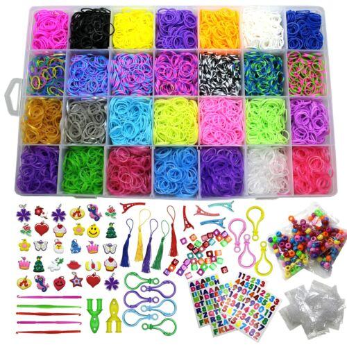 10800+ Rainbow Rubber Bands Refill Loom Kit Organizer for Kids Bracelet Weaving