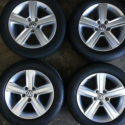 "Set 4 Genuine VW Golf Mk7 Dover 16"" Alloy Wheels Tyres 205 55 Caddy Van 5 spoke"