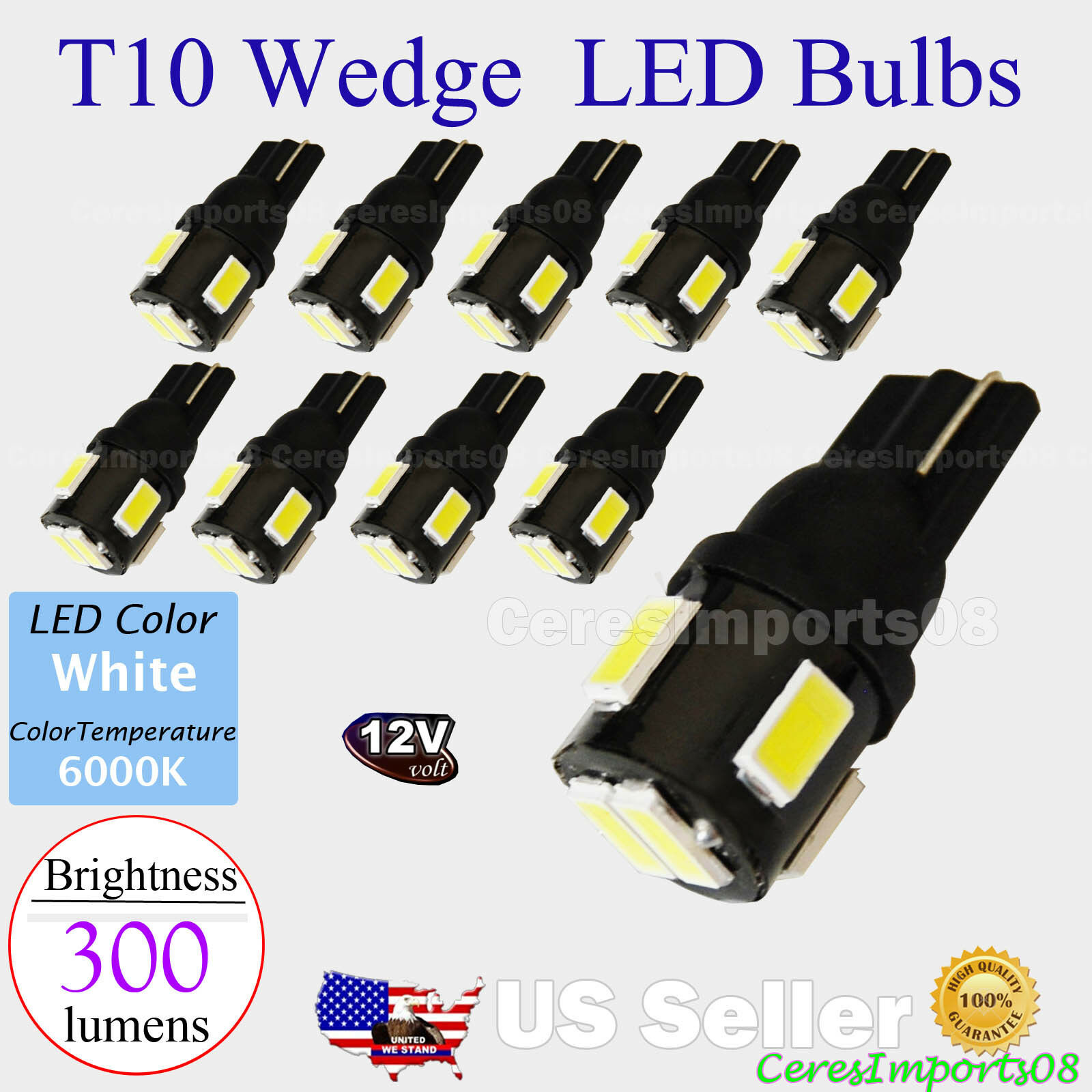 10 pcs T10 Wedge 300 lumen High Power LED Light Bulbs Xenon White 192 168 194