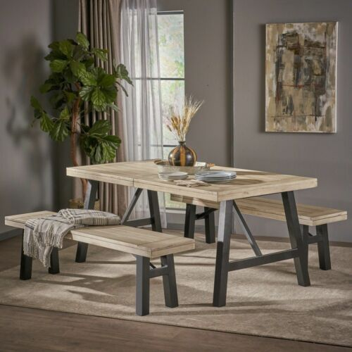 Savana Farmhouse 4 Seater Benches & Table Picnic Dining Set Dining Sets