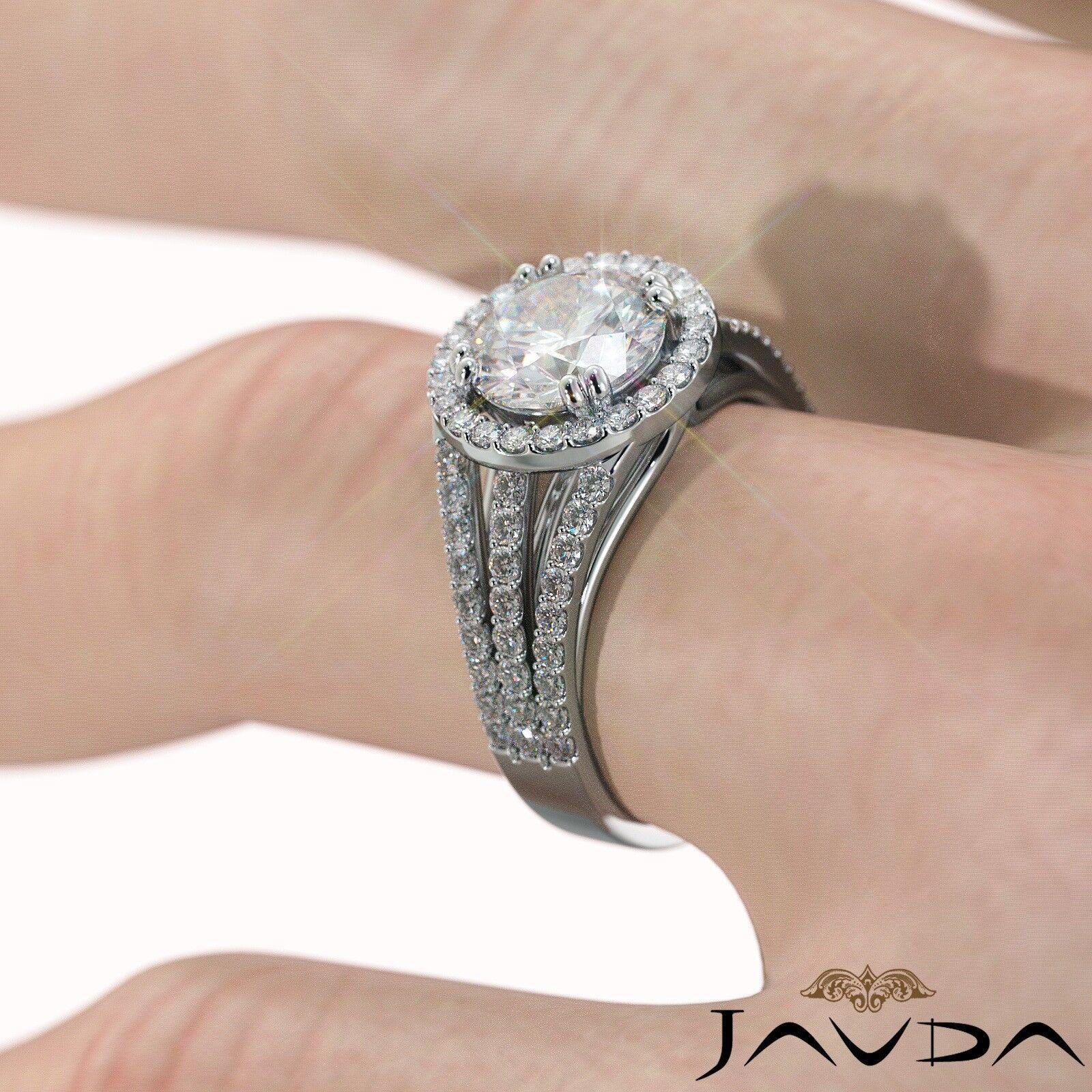 2ct Trio Shank Halo Sidestone Round Diamond Engagement Ring GIA E-VS2 White Gold 6