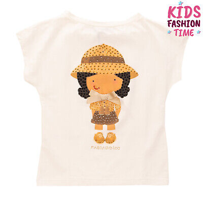 PAESAGGINO T-Shirt Top Size 5-6Y Girl Print Rhinestones Round Neck Made in Italy
