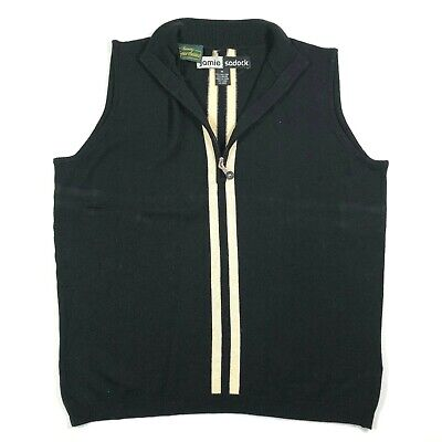 Jamie Sadock Womens M Silk Black Striped Golf Zip Polo Vest Shell Top Stretch