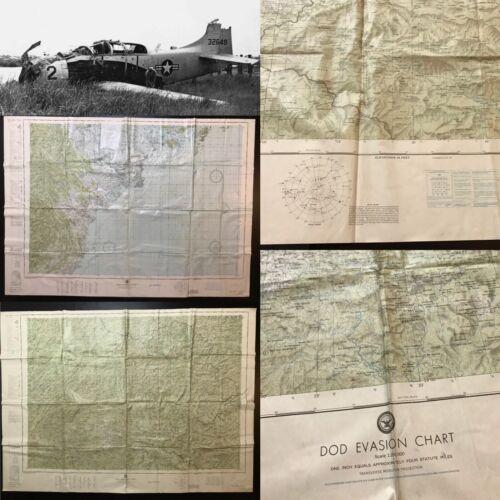 Rare Vietnam War 1966 DOD Pilot Evasion Map Double Sided Vietnam and Laos Relic