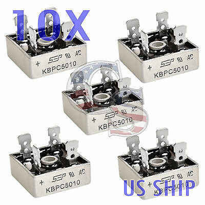 10x 10 Pcs 50a 1000v Metal Case Single Phases Diode Bridge Rectifier Kbpc5010
