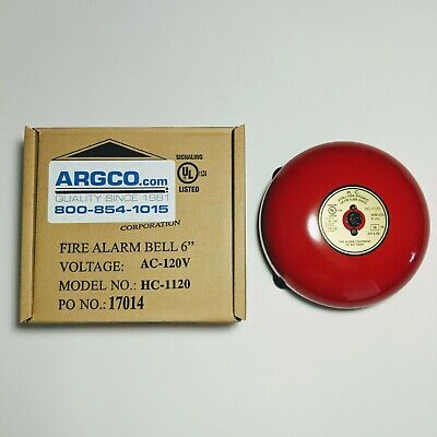 New Argco 6 Red Fire Alarm Bell Hc-1120 120v 4-wire Indooroutdoor