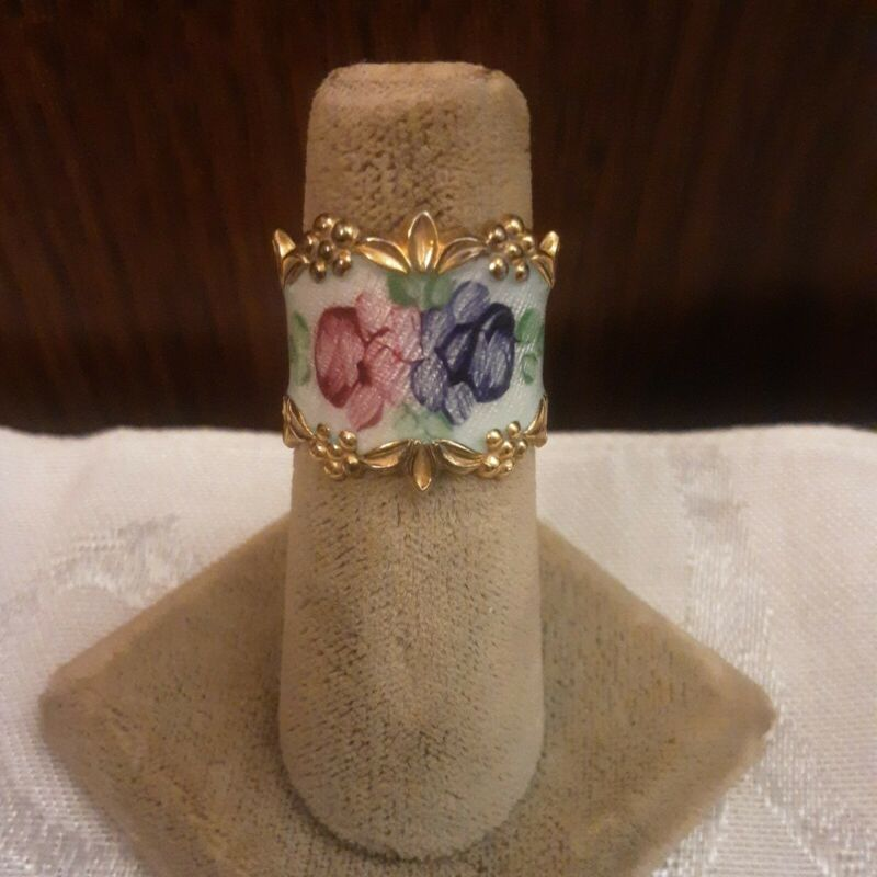 Vintage Sterling Silver Guilloche Enamel Roses 1950s Ring Size 6.5