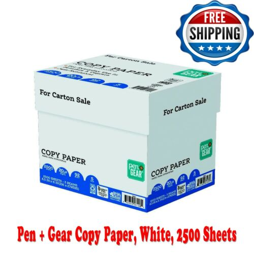 Pen + Gear Copy Paper, White, 2500 Sheets, 92 bright white paper, 5 Pack, 20 lb.