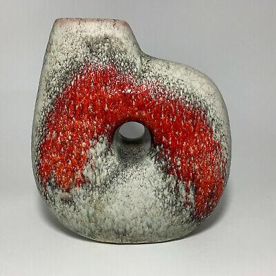Vintage Mid-Century Modern KARLSRUHE POTTERY Red/Gray Vase #7493, West Germany