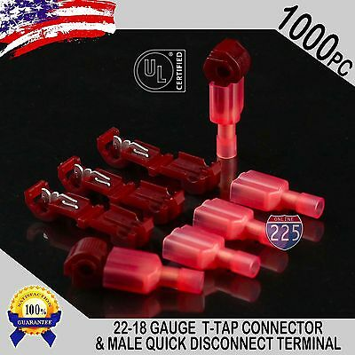 1000 T-taps Male Disconnect Wire Connectors Red 22-18 Awg Gauge Terminals Ul