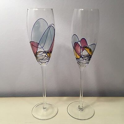 Pair Blown MILANO Stained Glass Mosaic Crystal Champagne Flute Wine Glasses