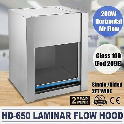 Laminar Flow Hood Hd-650 Horizontal 200w Air Flow Clean Bench 2ft Workstation Us