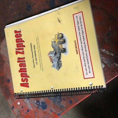 Zipper 480 Asphalt Pavers Operators Manual Grinder