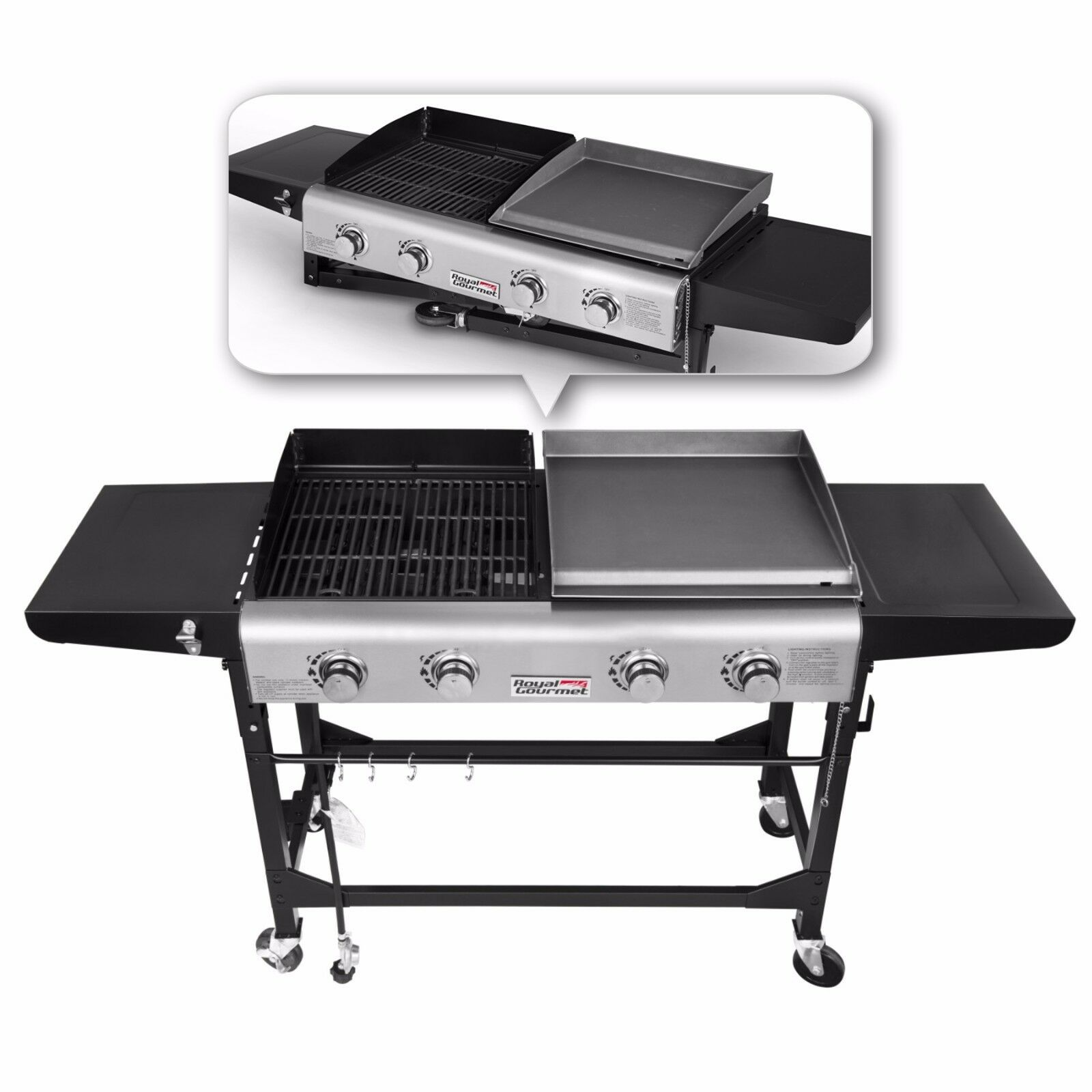 Royal Gourmet BBQ 4 Burner Gas Propane Grill Griddle Combo C