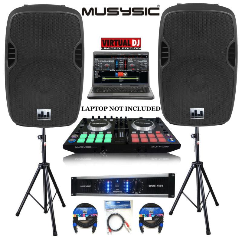 "Professional DJ System 4500W Amp DJ MIDI Controller w/ 8 Touch Pads 15"" Speakers"