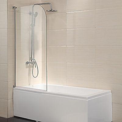 "55""X31"" Bath Shower Door 1/4"" Unstop Glass Pivot Radius Frameless Chrome Finish"
