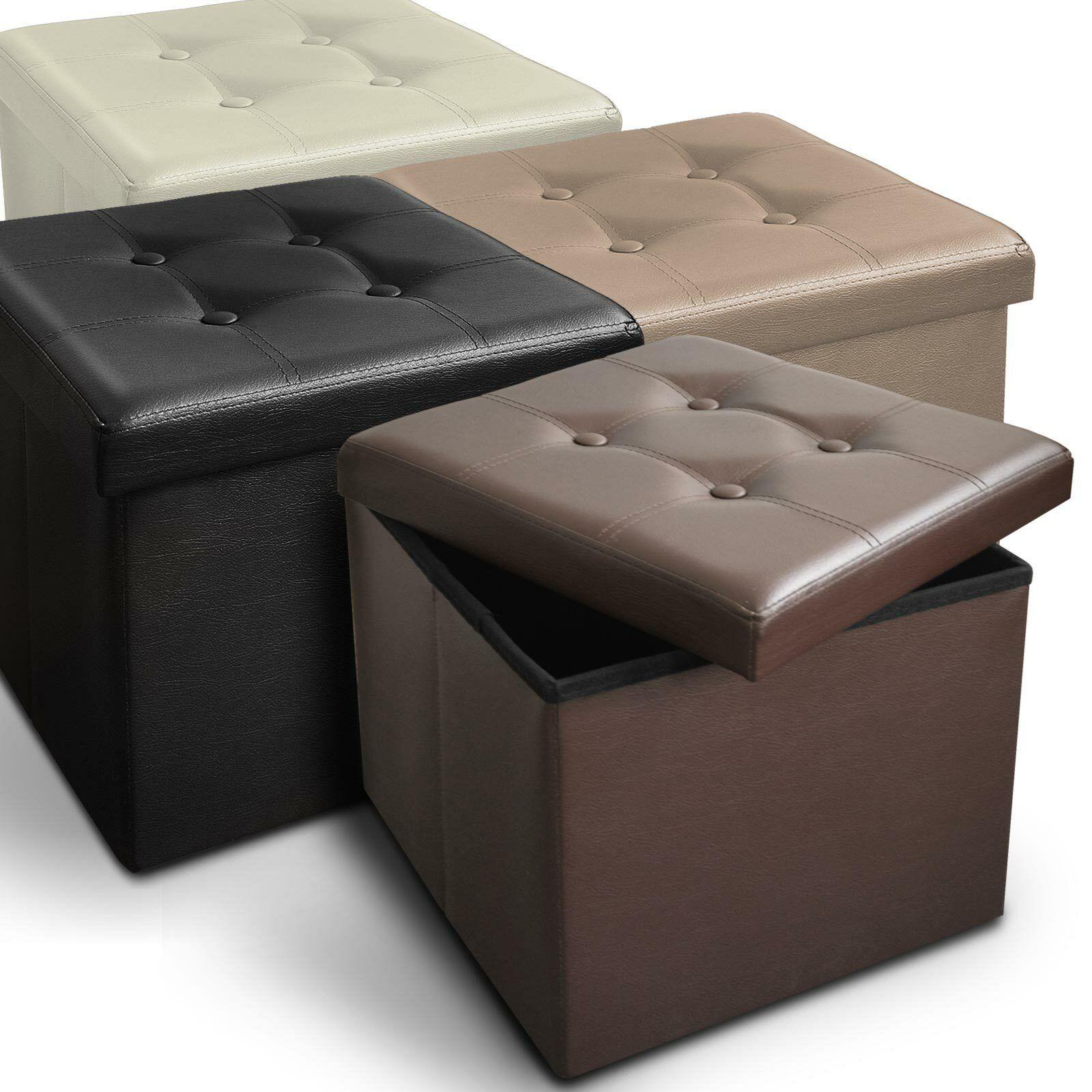 Faltbarer Sitzwürfel Sitzbank Aufbewahrungsbox Hocker Ottomane Sitzhocker